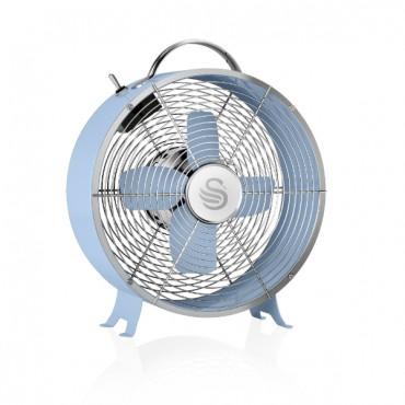 Swan Retro 8 Inch Clock Fan - Blue