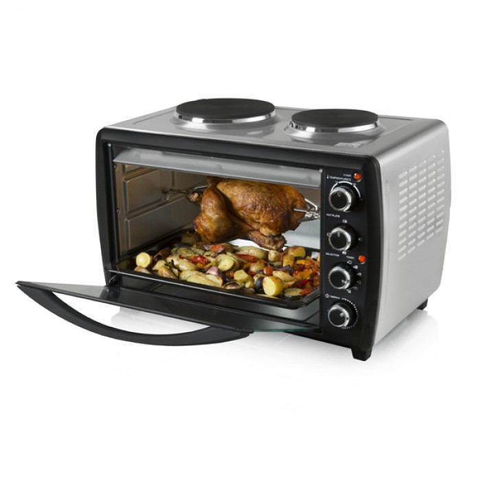 tower 46l s s mini oven with hotplates and rotisserie. Black Bedroom Furniture Sets. Home Design Ideas