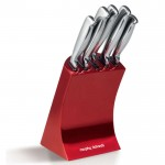Accents red 5 piece knife block set