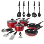 Morphy Equip 5 Piece Pan Set with 9 Piece Tool Set Red