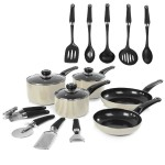 Morphy Equip 5 Piece Pan Set with 9 Piece Tool Set Cream