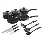 5pc black pan set with free tool set