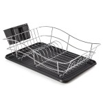 TOWER Dish Rack with Tray Chrome/Black