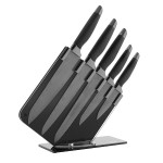 TOWER 5 Piece Damascus Patterned Knife Set Mirror Black