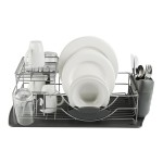 Tower Compact 2 Tier Dishrack w/ Cutlery Holder Grey