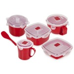 TOWER  Microwave 5pce Set Red